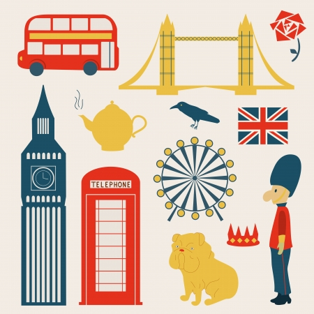 London vector elements, object set, collection illustration Illustration