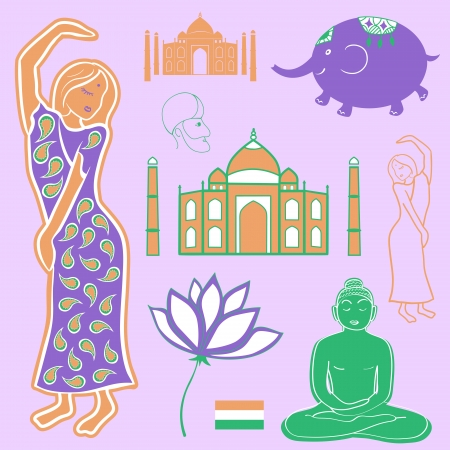 Collection elements India,  vector icons, illustration object Stock Vector - 24541678