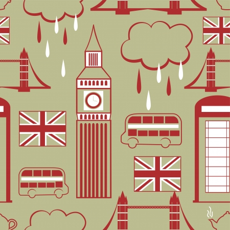 London elements landmark, seamless pattern, vector background Vector