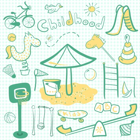 sandpit: Ni�os de la historieta infantil con juguetes icono, vector ilustrativa Vectores