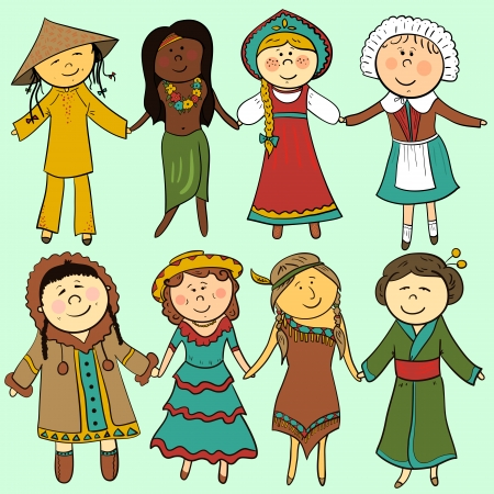 Cartoon children in different traditional costumes, vector set Vector