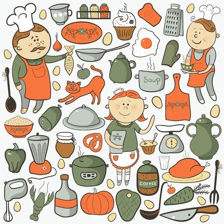 calabaza caricatura: Juego de cocina de vector, elementos coloridos de la historieta, cocinero, herramientas y alimentos Vectores