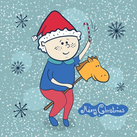 Little boy with toy horse, vector christmas illustrations Vector