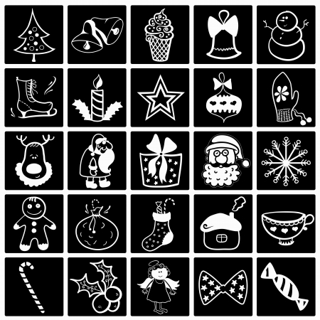 Christmas vecror set, black-white flat icon collection Vector
