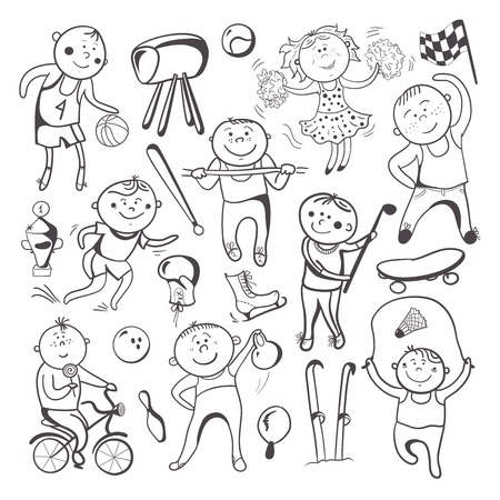 Black-white sketch sport players, vector cartoon character set Vector