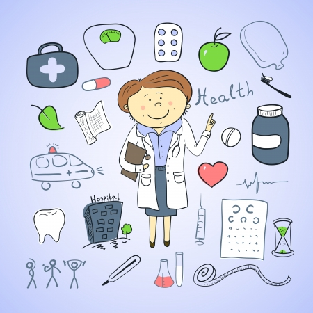 Vector health icons, doodle ilustration, woman doctor Vettoriali