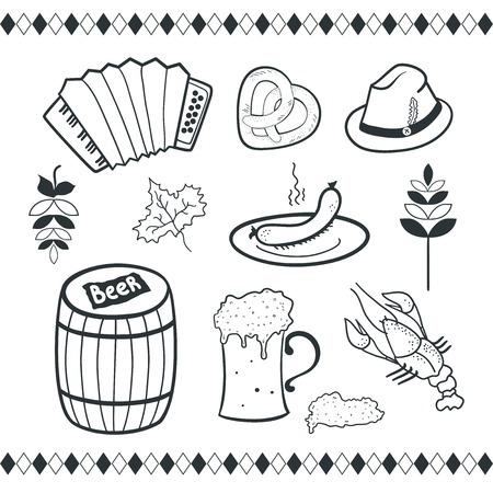 Oktoberfest icons set, black-white vector scetch ilustration Vector