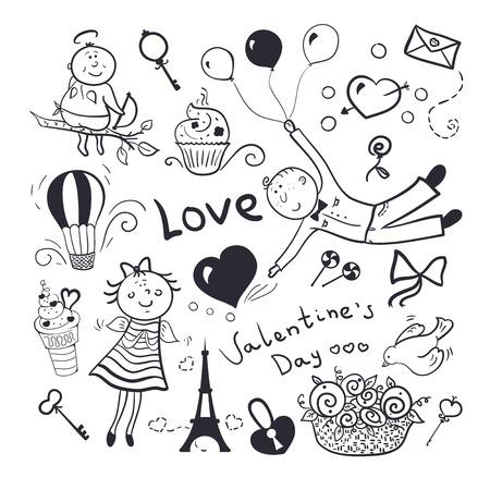 Black-white sketch valentines day vector set, doodle illustration Vector