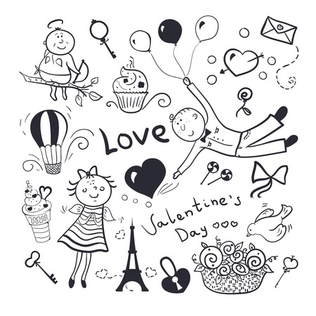 Black-white sketch valentines day vector set, doodle illustration Ilustrace