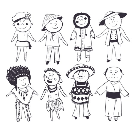 Cartoon children  in different traditional costumes, black-white sketch set Vector