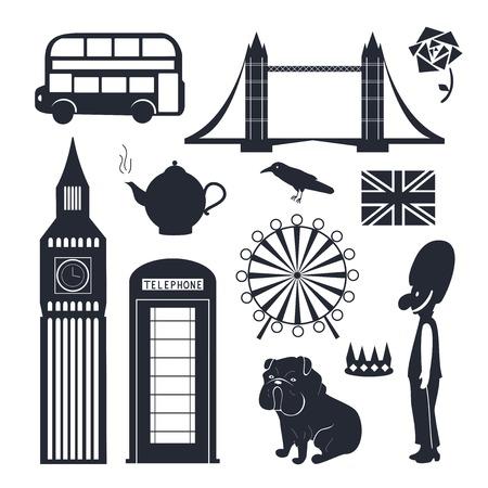 wheel guard: London vector elements, object set, black-white illustration Illustration