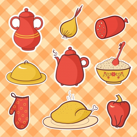 Retro kitchen set food, cartoon vector elements Vector