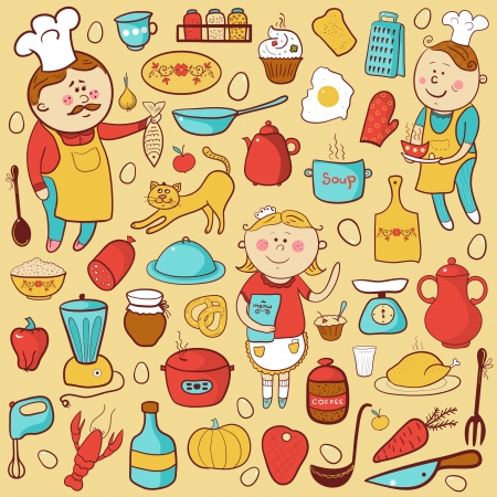 Kitchen vector set, cartoon colorful elements, cook, tools and food Vettoriali