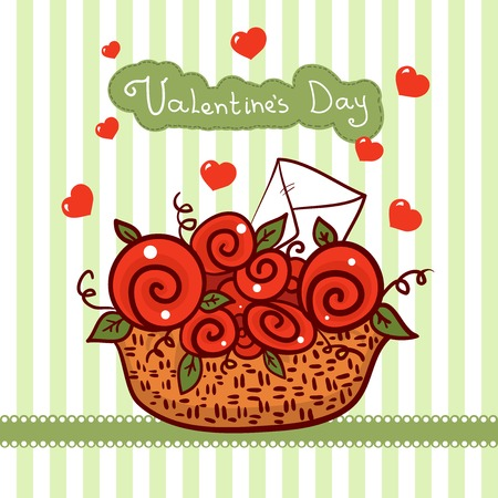 Vector basket with red roses, flowers Valentines day Vector