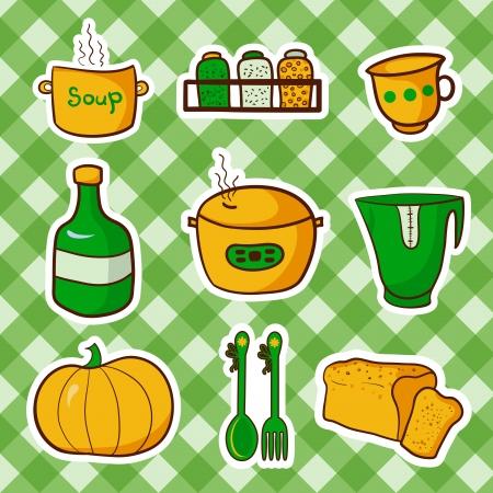 pressure bottle: Retro kitchen set food, cartoon vector elements