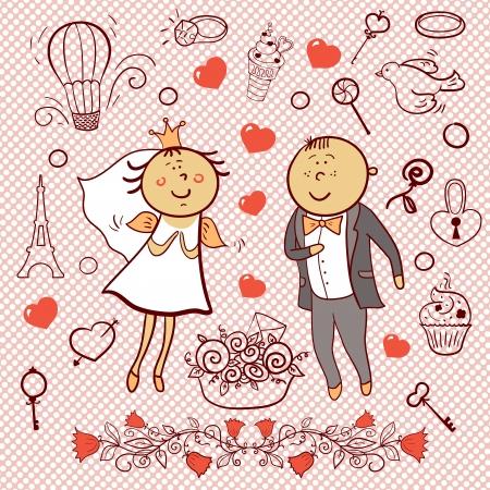 Romantic wedding collection, cartoon newlyweds,  cartoon vector set Vector