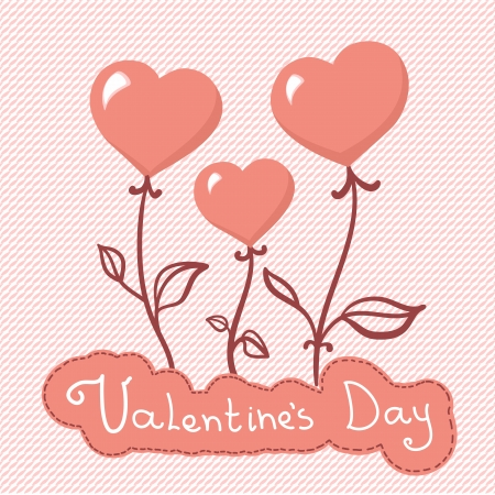 Vector heart flowers background, Valentines day card Vector
