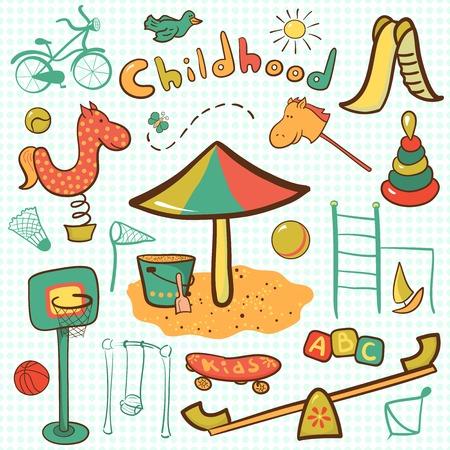 sandpit: Icono de la historieta de los ni�os juegos infantiles, juego de Infograf�a de vector