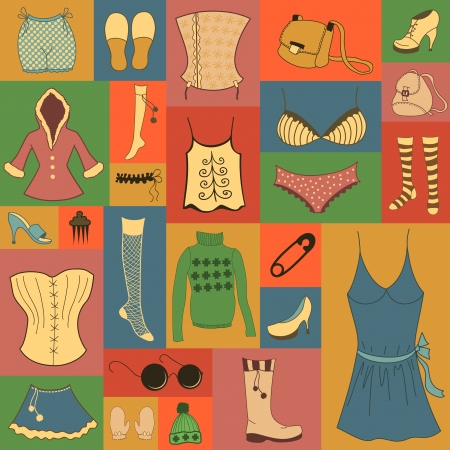 Retro hipsters clothes set, vector icon collection Vector