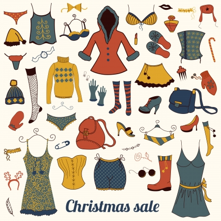 Christmas vector woman clothes  set, collection  illustration Vector