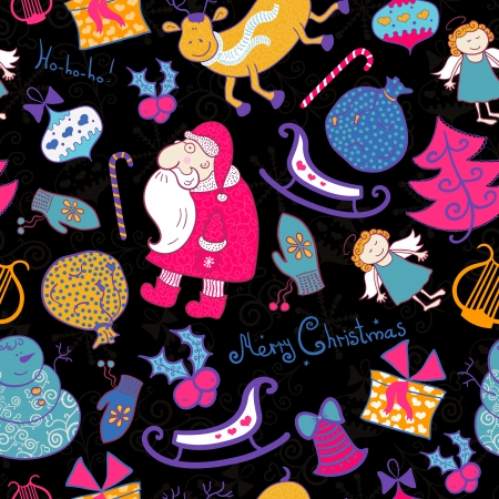 Christmas vector seamless pattern with doodle elements, dark background Vector