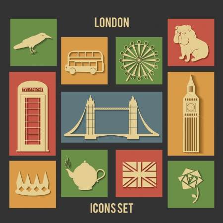 London vector flat icons with shadows, dark background Vettoriali