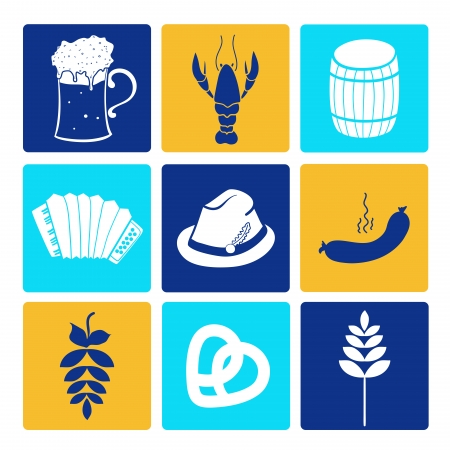 oktoberfest food: Oktoberfest graphic icons collection, food and drink
