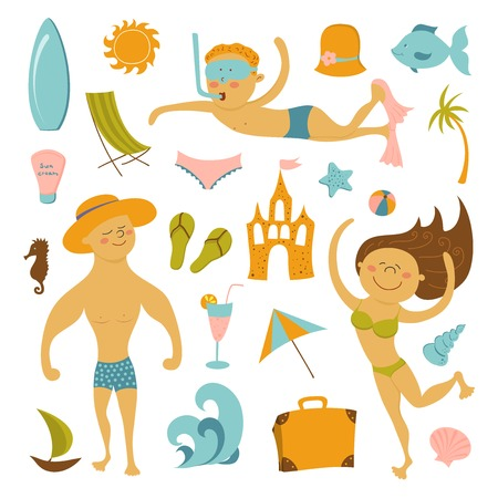 Vector travel icons, cute summer beach elements Vector