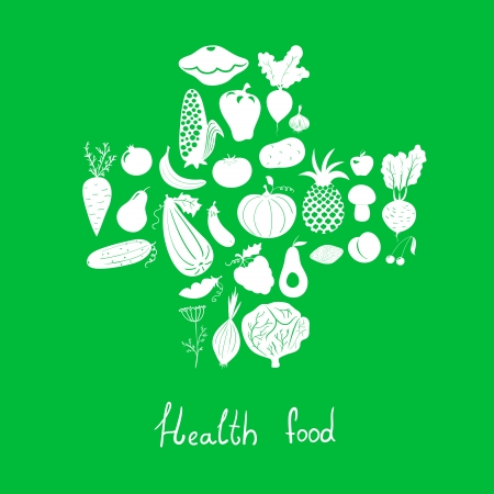 Vector set health food icons, vegetables and fruits Vector