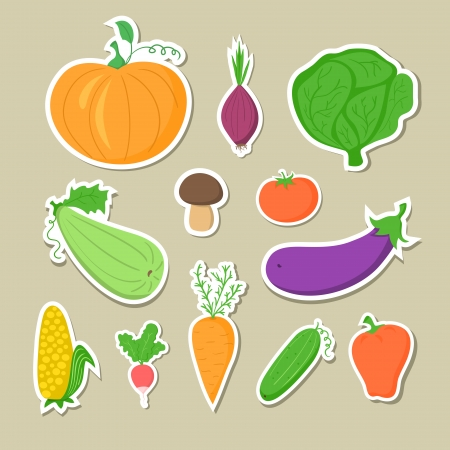 Set of hand-drawn vegetables, stickers without contour icons photo