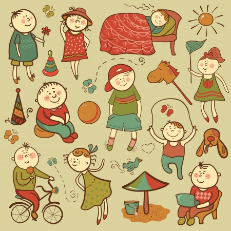 Children play with toys, vector illustration set Vector
