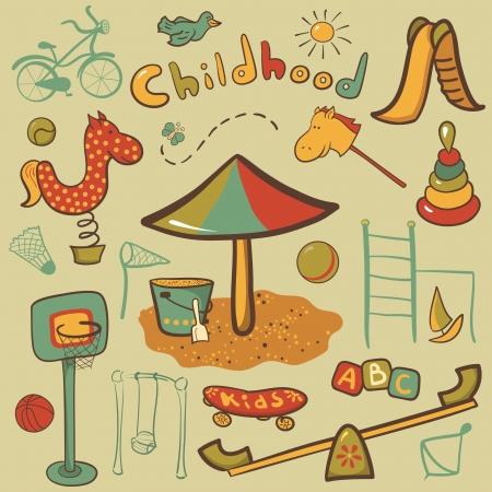 sandpit: Iconos de dibujos animados los ni�os coloridos juegos infantiles, vector ilustrativa