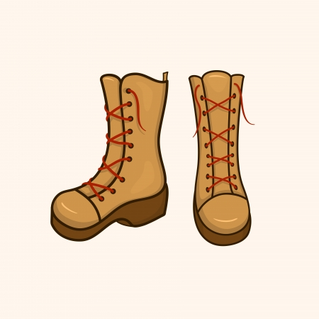 High autumn shoes with laces, youth boots isolated from the background Vector