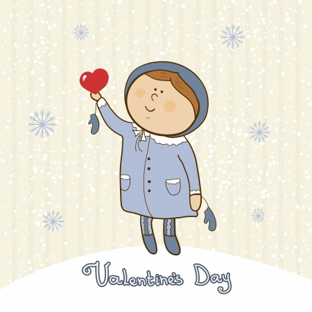 Cute little girl with  heart symbol love, valentines day postcard
