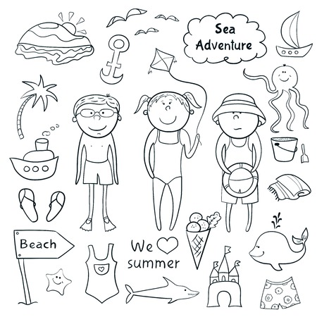 Beach graphic set, cartoon children, ?ute sea animals, accessories in doodle style Vector