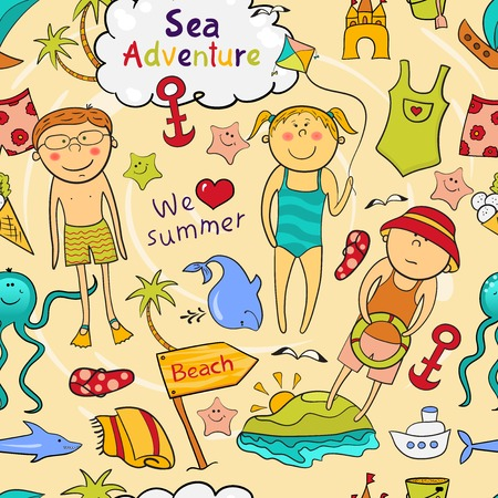 Beach seamless pattern with cartoon children, cute sea animals, accessories in doodle style Vector