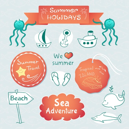 Beach graphic set with labels, inscriptions and sketch illustrations Vector