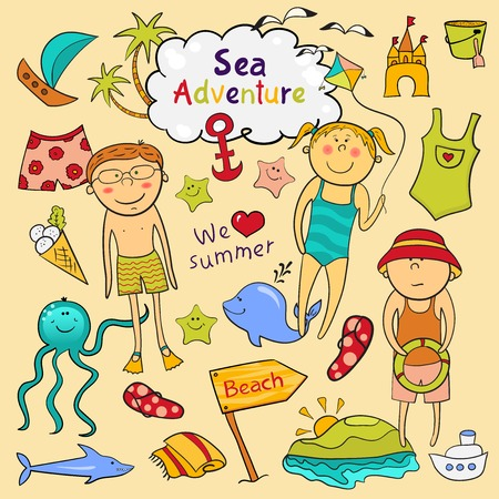 Beach graphic set, cartoon children, ?ute sea animals, accessories in doodle style Stock Vector - 26041551