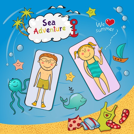 Beach graphic set with swimming cartoon children, cute sea animals, accessories in doodle style Vector