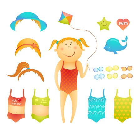 Paper doll cute beach girl with kite in doodle style Vector