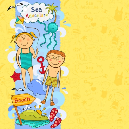 Cute childrens border with beach elements in doodle style Vector