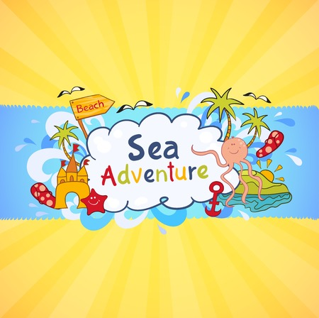 Colorful beach banner with cartoon elements, sea adventure Vector