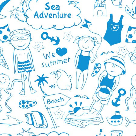 Beach seamless patternBeach seamless pattern with cartoon children, cute sea animals, accessories in doodle style in doodle style Vector