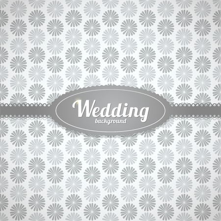 Vector wedding seamless pattern in classic style with ribbon and label Vector