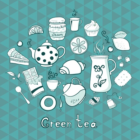 Tea and sweets icons set in doodle style on geometric background Vector