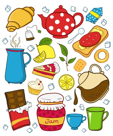 Tea and sweets icons set, isolated illustration in doodle style Vector