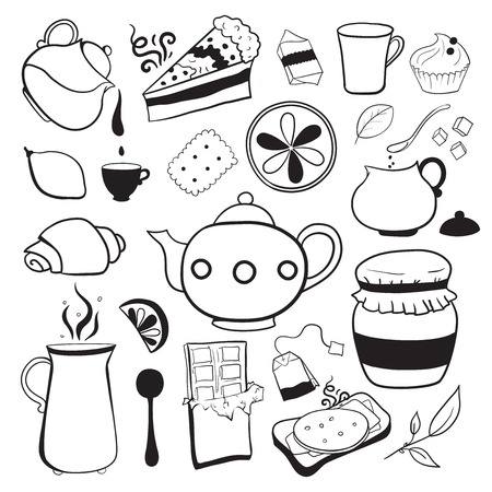 Tea and sweets set isolated outline black and white illustration in doodle style Vector