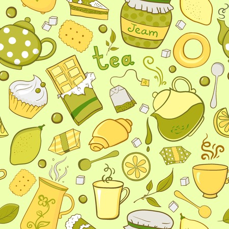 lump: Tea and sweets seamless pattern in doodle style