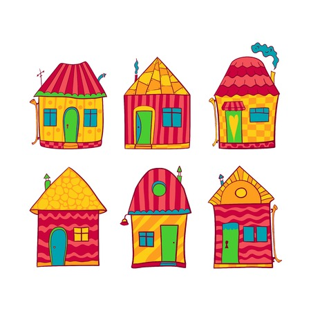 Set colorful cute houses in cartoon style Vector