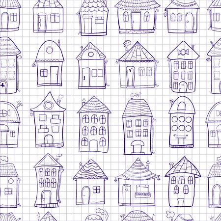 Seamless pattern outine houses in cartoon style on notebook sheet background Vector